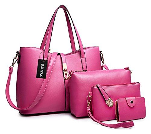 Tibes Borsa A Tracolla Borse Donna Borsa Sacchetto In Pelle Cartella Sacchetti A Rosa Rosa