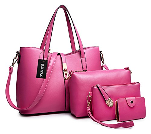 Tibes PU cuir sac a main + epaule de sac de femmes de la mode + porte-monnaie + carte 4pcs mis Rose