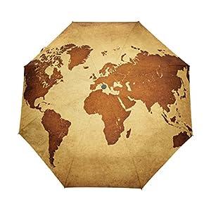 bennigiry Vintage mapa del mundo automático 3plegable sombrilla sol protección Anti-UV paraguas para mujeres