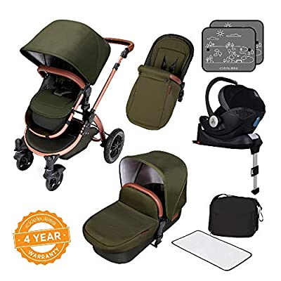 Ickle Bubba Stroller, Baby Travel System | Bundle Incl Rear and Forward-Facing Pushchair, Car Seat, Isofix Base, Carrycot, Footmuff and Raincover | Stomp V4 iSize Special Edition, Woodland Bronze