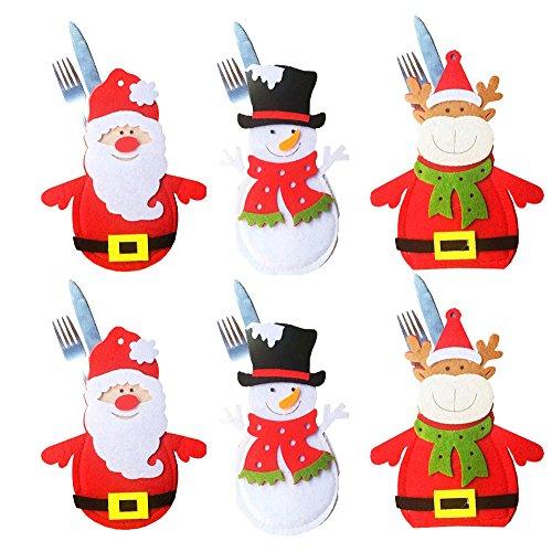 6 piezas Bolsillo de titular de vajilla de Navidad Bolsa de cubiertos, Decoración de Navidad Adornos de Navidad Muñeco de nieve Papá Noel Elk Bolsillos Cena Decoración del hogar (Christmas Tableware Bag)