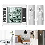 Powstro, termometro digitale wireless per frigorifero e congelatore, allarme acustico, monitor della temperatura interna ed esterna, con 2 sensori e registrazione della temperatura min/max