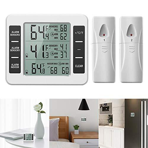 Powstro Funk-Kühlschrank-Thermometer Digitales Kühlschrank-Thermometer, akustischer Alarm für Innen- und Außenbereich, Temperatur-Monitor mit 2 Sensoren und Min/Max-Temperatur-Aufzeichnung