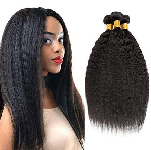 AJIAFA Frau Brasilianisches Verworrenes Glattes Haar Bündelt Gerade Haarwebart 100% Menschliche Haar-Erweiterungen Natürliche Schwarze Farbe,Black,22inches