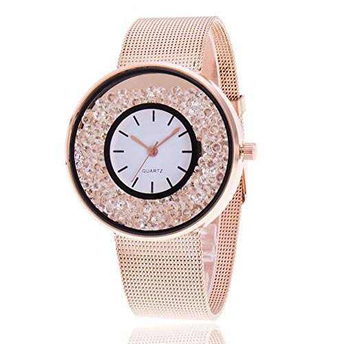 Jia Meng Frauen-Quarz-Zifferblatt Uhr Leder Armbanduhr Runde Ferse, Schöne Alloy Casual Uhr Analoge Quarzuhr