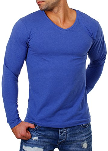 Young&Rich Herren Longsleeve Tiefer V-Ausschnitt Langarm Shirt Einfarbig Slimfit mit Stretchanteilen Uni Basic Deep V-Neck Tee, Grösse:L;Farbe:Blau-Melange