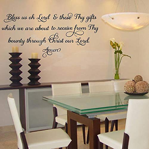 yiyiyaya Segne Uns oh Herr und Diese Deine Geschenke Amen Zitat Küche Wandtattoo Mahlzeit Gebet Lattering Wohnkultur Esszimmer Tapete88 * 42cm
