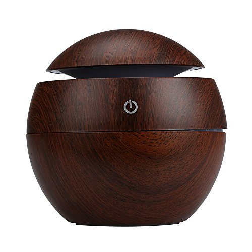 Logobeing 130ML Air Humidifier Aroma Air Freshener Humidifier Household Air Fresheners Ultrasonic Air Cleaner Oil Diffuser Essential Aroma Humidifier USB LED (Brown)
