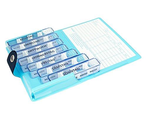 Medidos Wochenset dänisches Design   7 Pillendosen im Etui in dunkelblau/hellblau