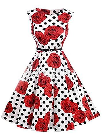 Swing Kleider 50er Jahre Elegant, KeepSa Sommer Ärmellos Partykleider Cocktailkleider Retro Vintage Rockabilly Casual Kleid (Tan Perlen Set)