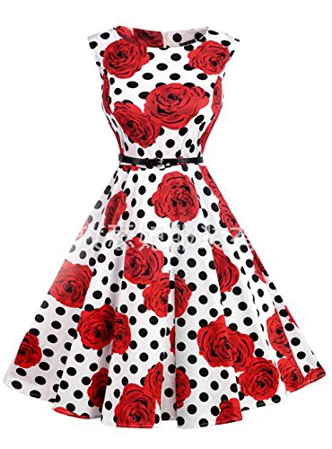 Swing Kleider 50er Jahre Elegant, KeepSa Sommer Ärmellos Partykleider Cocktailkleider Retro Vintage Rockabilly Casual Kleid Dress (S 1960 Damen Jacke)