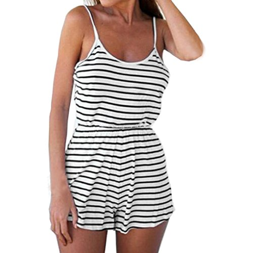Jumpsuits Women Summer HCFKJ Teens Girls Casual Playsuit Ladies Shorts Set Sport Fashion Jumpsuit High Waist Romper Beach Striped Backless Vest