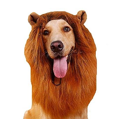 Tier-Hund Perücke Kostüm Löwe Mähne lustig Löwenkopf (haben Ohren)(braun1)