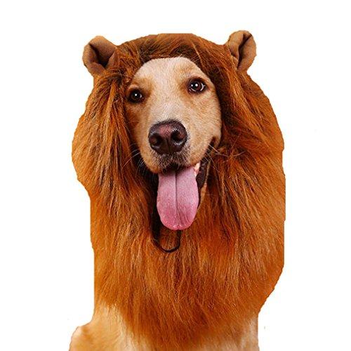 Und Fisch Chips Kostüme (Tier-Hund Perücke Kostüm Löwe Mähne lustig Löwenkopf (haben)