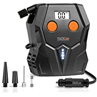 TACKLIFE Digital Tyre Inflator, ACP1A Air Compressor Pump, 12V Tyre Pump with Unique Continuous Inflation Function,Larger Backlight Display, LED Light, 3 Nozzle Adaptors and Extra Fuse(150PSI)