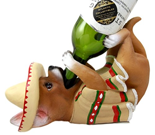 Atlantic Sammlerstücke Liebenswürdig, mexikanischen Chihuahua Poncho Sombrero Dekorative Wein Flasche Halter Rack Figur -