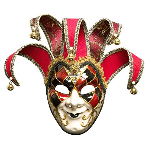 Bunte Venezianische Joker Full Face Men Joker Masquerade Wand Maske Glocken Mardi Gras Halloween,Pink