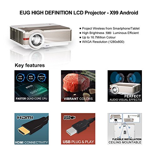 Great Buy for HD Video Projector Bluetooth WiFi 1080P 5000 Lumen Wxga Wireless Home Cinema LED LCD Projector Outdoor Movie Gaming HDMI USB Airplay Android Smartphone Beamer for TV DVD Xbox Blu Ray Special