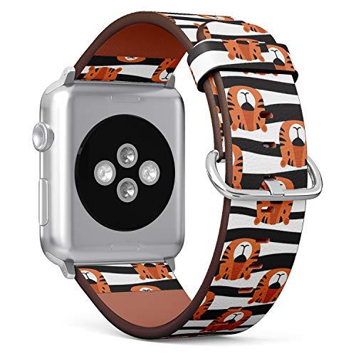 Armband für Apple Watch, 42 mm und 44 mm, Leder, mit Edelstahlverschluss und Adaptern (Maulkorb, Tiger-Hintergrund)