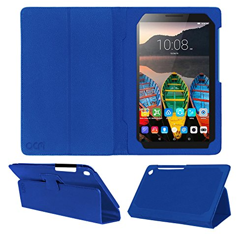 ACM Executive Leather Flip Flap Case for Lenovo Tab 3 7 Essential Tablet Front & Back Cover Blue