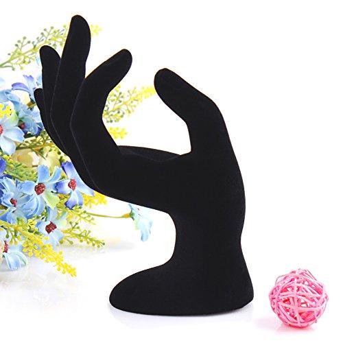 Los titulares de la joyería de la mano de terciopelo negro del sostenedor del anillo soporte de la joyería de terciopelo Mano Deco joyería de la mano sostenedor soporte de exhibición de la marca MyBeautyworld24