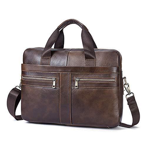 Herren Businesstasche Aktentasche Männer Handtasche Vintage Echte Leder Große Schulter Messenger Taschen für 14 Zoll Laptop - Kaffe Braun