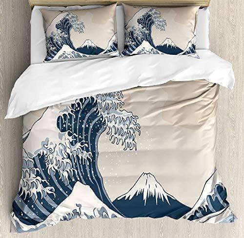 Wave Bettbezug-Set Queen Size, orientalische Kultur Handgezeichnete asiatischen Stil japanische Motive Abbildung große Welle, dekorative 3-teiliges Bettwäscheset mit 2 Kissen-Shams, Blau Grau Beige - Grau Kissen Dekorative Blau