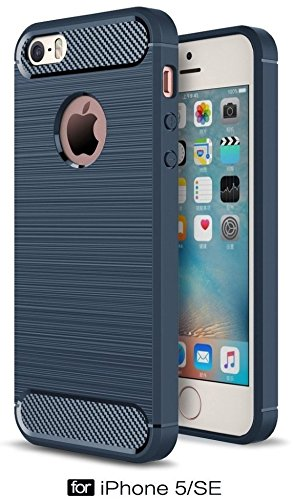 For iPhone 5 / 5s / 5 SE – WOW Imagine Premium Shock Proof Carbon Fibre Brushed Texture Armour Series [ Air Cushion Anti Shock Technology ] Impact Resistant Slim Profile Flexible TPU Phone Back Case Cover For Apple iPhone 5 / 5s / 5 SE - Deep Blue  available at amazon for Rs.499