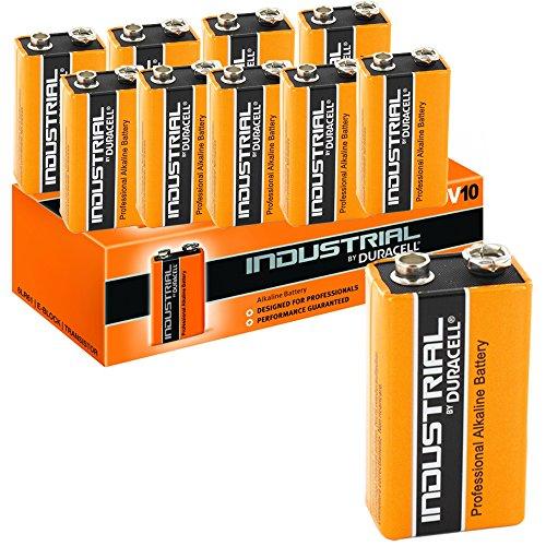 Duracell, 10 batterie alcaline 9V, blocco Industrial, arancione (confezione da 10)