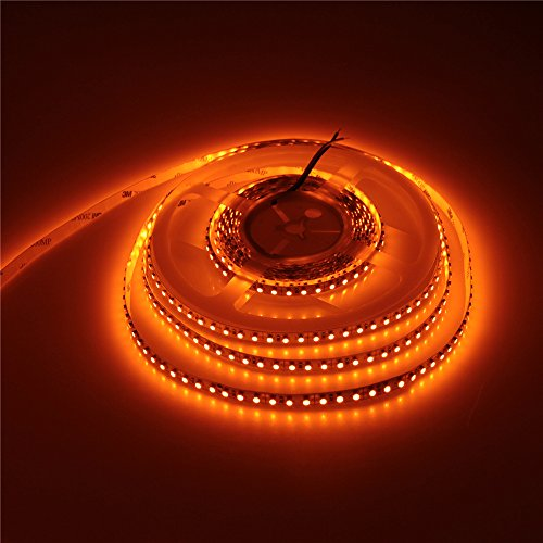 ALITOVE 16.4ft 3528 SMD Orange LED Flexible Strip Light lamp 5M 600 LEDs Non Waterproof IP30 12V DC for home hotels clubs shopping malls cars decoration