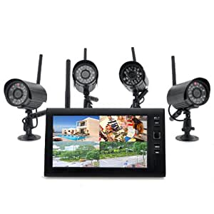 Express Electrics Wireless Home Security Camera System Securial 4x Indoor Wireless Cameras 7 Inch Wireless Monitor Builtin DVR