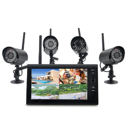 'Wireless Home Security Camera System securial-4x Indoor Wireless Cameras, 7inch Wireless Monitor, Built-in DVR Business-dvr Security System