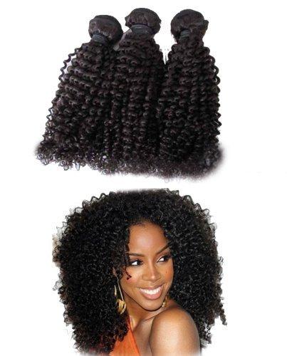 40,6 cm Praida Extensions de cheveux humains bouclés afro Kinky Noir pour Femmes Noir naturel 100 g/un ensemble