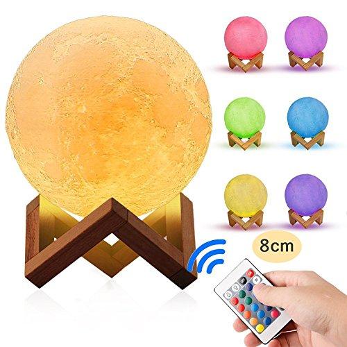 3D Print Mondlicht, Remote Moon Night Light USB Lade Holzfuß Mit Touch Und Remote Moonlight Dekoration Anwendbar Auf Horizontal, Geschenk 5,9 Zoll/3,14 Zoll,Sevencolors,8CM