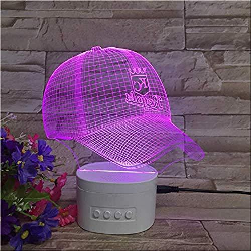Nachtlicht Baseball Cap Illusion Light 3D 5-Farben-Farbverlauf Umgebungslicht Creative Bluetooth Speaker White Base