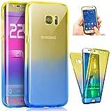 Kompatibel mit Galaxy S6 Edge Hülle Transparent TPU Silikon Hülle 360 Grad Full Body Cover Rundum Doppel-Schutz-Hülle Durchsichtig Handyhülle Slim case Handytasche Etui,Gelb+Blau