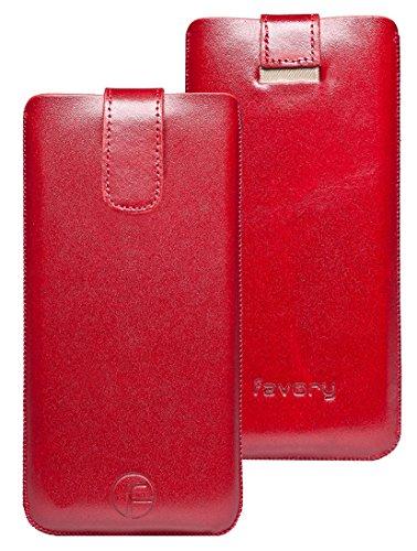 Original Favory Etui Tasche für / Primo 365 by Doro / Leder Etui Handytasche Ledertasche Schutzhülle Case Hülle Lasche mit Rückzugfunktion* In Rot