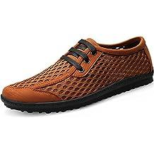 Shenn Hombre Británico Diseño Ponerse Bajo Top Vestir Cuero Zapatos (Marrón,EU43)