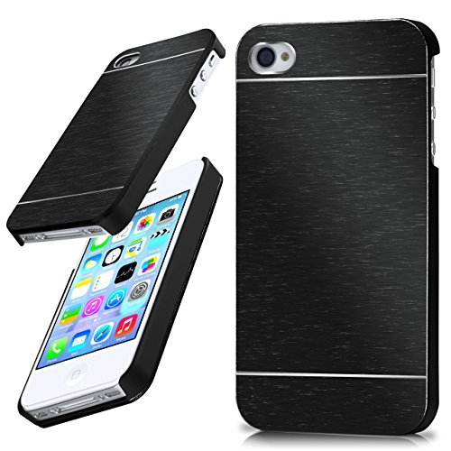 moex iPhone 4S | Hülle Dünn Schwarz Aluminium Back-Cover Schutz Handytasche Ultra-Slim Handy-Hülle für iPhone 4/4S Case Metall Schutzhülle Alu Hard-Case - Case Bumper Iphone Aluminium 4s