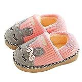 SITAILE Jungen Mädchen Winter Pantoffeln Slippers Schuhe mit Plüsch gefüttert Wärme Weiche Rutschfeste Hausschuhe Für Kinder Baby 02-rosa 20-21