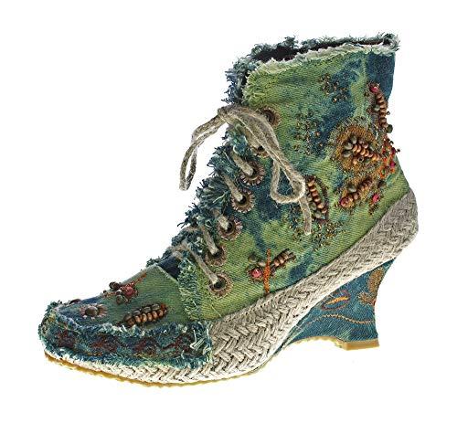 stahl-moden Damen Stiefeletten Keil Absatz Stiefel Wedges Stoff Schuhe Batik-Look Muster variieren Grün Gr. 36 (Keil Stiefel Schuhe Und)