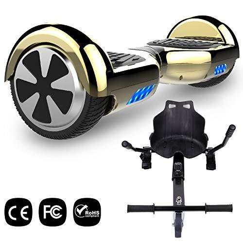 GeekMe Hoverboard mit HoverKart 6,5 Zoll Selbstabgleich Roller UL2272 Sicherheit Zertifiziert eingebaute LED-Leuchten -700W, Geschenk für Kinder und Erwachsene