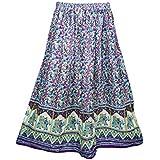 Mogul Interior Womens Retro Skirts Printed A-Line Flirty Bohemian Long Skirt (Purple)
