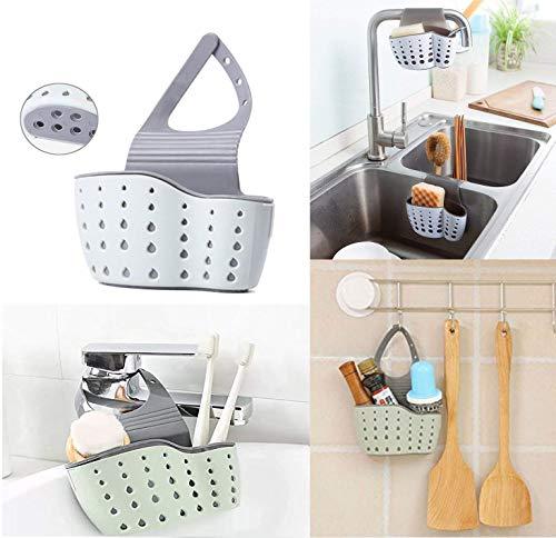 porta spugne cucina, organizer per lavello cestino appeso da rubinetto portaoggetti per cucina, per lavello cestino sink shelving bag for kictchen,bathroom (bianco)