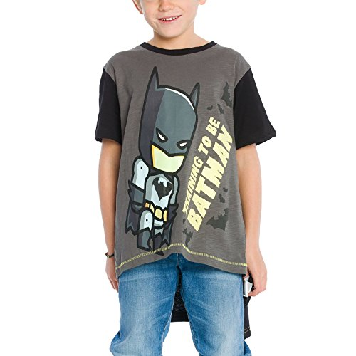 Batman Kinder T-Shirt mit Cape DC Comics Baumwolle Grau Schwarz - 140 (Und T-shirt Wonder Cape Woman)