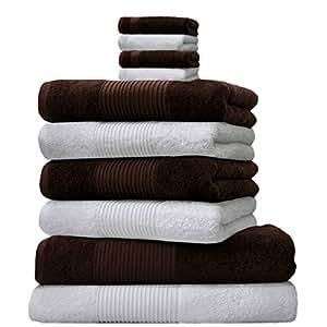 Liness 10 tlg Handtuch-Set 4 Handtücher 50x100 cm 2 Duschtücher Badetücher 70x140 cm 4 Waschhandschuhe 16x21 cm 100% Baumwolle braun weiss