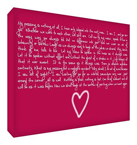 Feel Good Art Gallery verpackt Box Leinwand, die Solide Front Panel (30x 20x 4cm, klein, Raspberry, ich bin nur in den nächsten Raum Gedicht)
