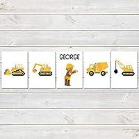 Construction Print Set, Nursery/Kids Bedroom Personalised Posters, Digger Set of 5
