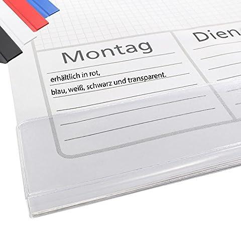 Schutzleisten für Schreibtischunterlagen aus Papier | Selbstklebend, 10 oder 100 Stück | Farbe wählbar | Schutzleisten für Schreibunterlage | Aufmachung paarweise | Kalenderabdeckleisten selbstklebend / Transparent 10