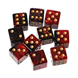 Manyo 10pcs 6 Seitige Würfel, leicht und tragbar, perfekt für Brettspiel, Club und Bar Spiel Tool, Familienspiel, Math Teaching. (2)